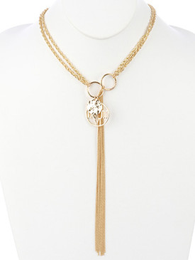 NECKLACE / LONG CHAIN FRINGE / METAL DISC CHARM / PULL THROUGH / ROMAN NUMERAL / CLOCK FACE / HAMMERED / DOUBLE ROPE CHAIN / 18 INCH LONG / 8 1/2 INCH DROP / NICKEL AND LEAD COMPLIANT