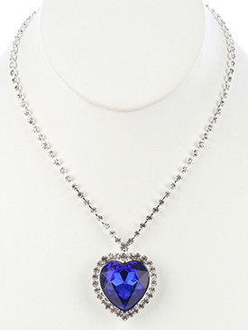 NECKLACE / HEART SHAPE PENDANT / RHINESTONE / FACETED GLASS STONE / 16 INCH LONG / 1 3/4 INCH DROP / NICKEL AND LEAD COMPLIANT