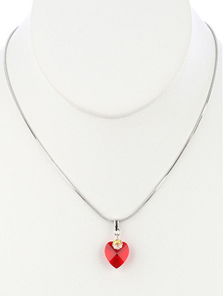 NECKLACE / FACETED GLASS STONE / HEART SHAPE PENDANT / SNAKE CHAIN / 16 INCH LONG / 1 INCH DROP / NICKEL AND LEAD COMPLIANT