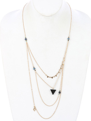 NECKLACE / NATURAL STONE CHARM / MULTI LAYER CHAIN / AURORA BEAD / TRIANGULAR METAL / SEED BEAD / LINK / 26 INCH LONG / 5 INCH DROP / NICKEL AND LEAD COMPLIANT