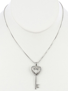 NECKLACE / METAL DOUBLE HEART / KEY PENDANT / PAVE CRYSTAL STONE / LINK / CHAIN / 16 INCH LONG / 2 INCH DROP / NICKEL AND LEAD COMPLIANT