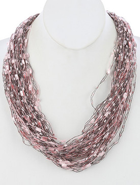 NECKLACE / MULTI STRAND / YARN / MAGNETIC CLOSURE / 24 INCH LONG / 1 INCH DROP / NICKEL AND LEAD COMPLIANT