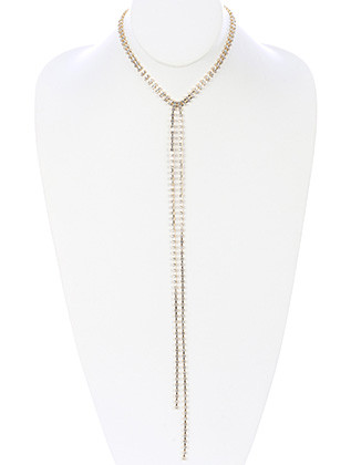 NECKLACE / DOUBLE STRAND / RHINESTONE Y / 14 INCH LONG / 14 INCH DROP / NICKEL AND LEAD COMPLIANT