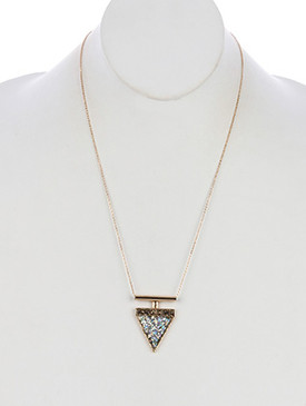 NECKLACE / TRIANGLE BANNER / GLITTER FINISH STONE / HOLLOW METAL BAR / HAMMERED / LINK / CHAIN / 22 INCH LONG / 1 2/3 INCH DROP / NICKEL AND LEAD COMPLIANT
