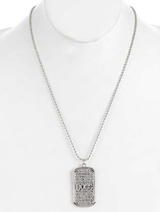 NECKLACE / PAVE CRYSTAL STONE / DOG TAG PENDANT / MESSAGE / BOSS / METAL SETTING / BEAD CHAIN / 24 INCH LONG / 2 INCH DROP / NICKEL AND LEAD COMPLIANT