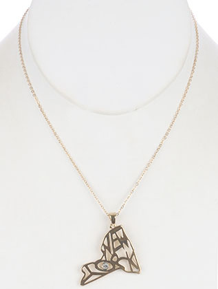 NECKLACE / CUTOUT METAL / STATE OF NEW YORK PENDANT / MESSAGE / CRYSTAL STONE / LINK / CHAIN / 16 INCH LONG / 1 1/2 INCH DROP / NICKEL AND LEAD COMPLIANT