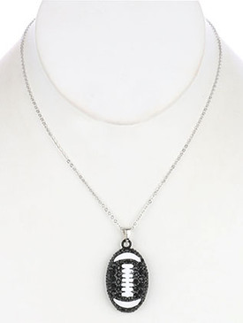 NECKLACE / PAVE CRYSTAL STONE / METAL FOOTBALL PENDANT / EPOXY COATED / HOLLOW / CUTOUT / LINK / CHAIN / 16 INCH LONG / 1 3/4 INCH DROP / NICKEL AND LEAD COMPLIANT