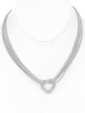 NECKLACE / METAL HEART / MULTI CHAIN / PAVE CRYSTAL STONE / LINK / 16 INCH LONG / 1 INCH DROP / NICKEL AND LEAD COMPLIANT