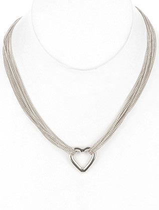 NECKLACE / METAL HEART / MULTI CHAIN / LINK / 16 INCH LONG / 1 INCH DROP / NICKEL AND LEAD COMPLIANT