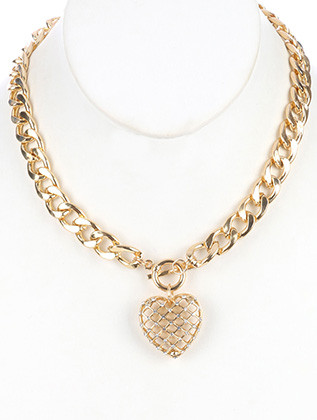 NECKLACE / HOLLOW METAL HEART / CHARM / MESH CUTOUT / CRYSTAL STONE / LINK / CURB CHAIN / TOGGLE CLOSURE / 18 INCH LONG / 1 3/4 INCH DROP / NICKEL AND LEAD COMPLIANT