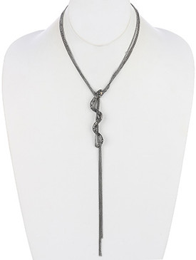 NECKLACE / PAVE CRYSTAL STONE / METAL SNAKE MULTI CHAIN / LINK / CHAIN / 16 INCH LONG / 9 INCH DROP / NICKEL AND LEAD COMPLIANT