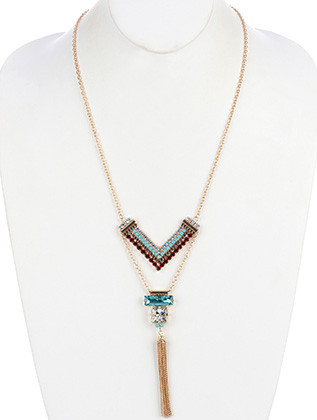 NECKLACE / CHEVRON PATTERN / CHAIN TASSEL / PAVE CRYSTAL STONE / METAL SETTING / LINK / CHAIN / 24 INCH LONG / 5 1/2 INCH DROP / NICKEL AND LEAD COMPLIANT