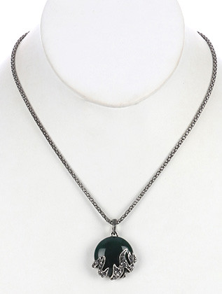 NECKLACE / AGED FINISH METAL / NATURAL STONE PENDANT / METALLIC STONE / LINK / COREANA CHAIN / 18 INCH LONG / 1 1/2 INCH DROP / NICKEL AND LEAD COMPLIANT