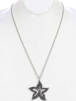 NECKLACE / AGED FINISH METAL / STARFISH PENDANT / PATTERNED / TEXTURED / LINK / DOUBLE CHAIN / 28 INCH LONG / 2 1/4 INCH DROP / NICKEL AND LEAD COMPLIANT