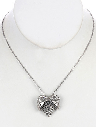 NECKLACE / AGED FINISH METAL / HEART PENDANT / MESSAGE / LOVE / PAVE CRYSTAL STONE / LINK / CHAIN / 16 INCH LONG / 1 1/8 INCH DROP / NICKEL AND LEAD COMPLIANT