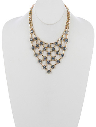 NECKLACE / FACETED GLASS STONE / LAYERED CHAIN BIB / LINK / CURB CHAIN / 16 INCH LONG / 3 3/4 INCH DROP / NICKEL AND LEAD COMPLIANT