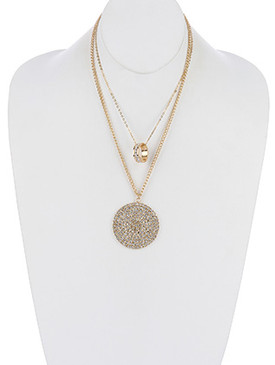 NECKLACE / PAVE CRYSTAL STONE / METAL DISC PENDANT / DOUBLE LAYER / RING / LINK / CHAIN / 18 INCH LONG / 4 1/4 INCH DROP / NICKEL AND LEAD COMPLIANT