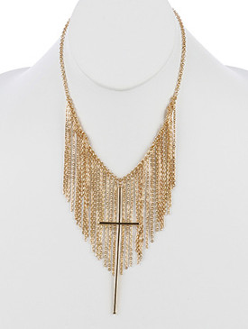 NECKLACE / METAL CROSS PENDANT / CHAIN FRINGE BIB / LINK / CHAIN / 18 INCH LONG / 4 1/2 INCH DROP / NICKEL AND LEAD COMPLIANT