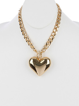 NECKLACE / HOLLOW METAL HEART / PENDANT / CUTOUT BACK / LINK / CURB CHAIN / TOGGLE CLOSURE / 18 INCH LONG / 2 1/4 INCH DROP / NICKEL AND LEAD COMPLIANT