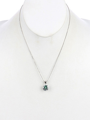 NECKLACE / ROUND CUT / CUBIC ZIRCONIA / COLOR EMBROIDERED BACKGROUND / BEAD CHAIN / METAL SETTING / 16 INCH LONG / 3/4 INCH DROP / NICKEL AND LEAD COMPLIANT
