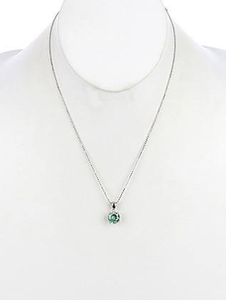 NECKLACE / ROUND CUT / CUBIC ZIRCONIA / COLOR EMBROIDERED BACKGROUND / BEAD CHAIN / METAL SETTING / 16 INCH LONG / 3/8 INCH DROP / NICKEL AND LEAD COMPLIANT