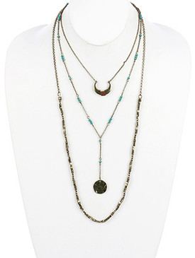 NECKLACE / AGED FINISH METAL / THREE LAYER / CRESCENT / FULL MOON / HAMMERED / METALLIC BEAD / LUCITE BEAD / FAUX SUEDE WRAPPED / LINK / CHAIN / 16 INCH LONG / 7 1/2 INCH DROP / NICKEL AND LEAD COMPLIANT