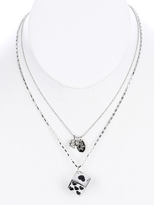 NECKLACE / DOUBLE LAYERED CHAIN / DICE CHARM BIB / CRYSTAL STONE BALL / EPOXY COAT / LINK / CHAIN / 16 INCH LONG / 2 INCH DROP / NICKEL AND LEAD COMPLIANT