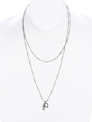 NECKLACE / PAVE CRYSTAL STONE / METAL SANDAL CHARM / LINK / CHAIN / 46 INCH LONG / 3/4 INCH DROP / NICKEL AND LEAD COMPLIANT