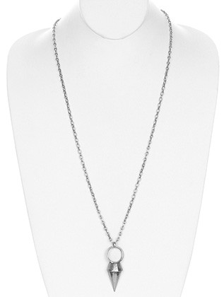 NECKLACE / AGED FINISH / CONE PENDANT / RING / CHAIN LINK METAL / 34 INCH LONG / 2 1/2 INCH DROP / NICKEL AND LEAD COMPLIANT
