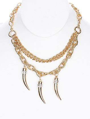 NECKLACE / ELEPHANT TUSK CHARM / THREE LAYER CHAIN / METAL / PAVE CRYSTAL STONE / LINK / CHAIN / 16 INCH LONG / 3 INCH DROP / NICKEL AND LEAD COMPLIANT