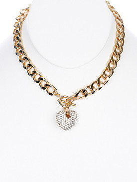 NECKLACE / METAL HEART PENDANT / CHUNKY METAL BIB / PAVE CRYSTAL STONE / CUTOUT HOLLOW METAL / TOGGLE CLOSURE / LINK / CURB CHAIN / 16 INCH LONG / 1 1/2 INCH DROP / NICKEL AND LEAD COMPLIANT