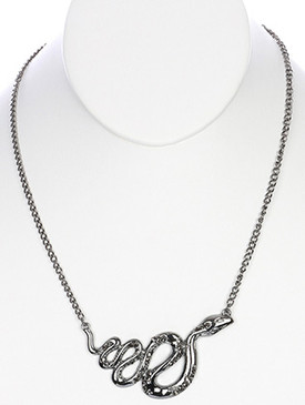 NECKLACE / METAL SNAKE / BIB / METALLIC STONE / LINK / CHAIN / 16 INCH LONG / 1 1/4 INCH DROP / NICKEL AND LEAD COMPLIANT