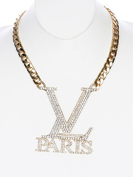 NECKLACE / PAVE CRYSTAL STONE / PARIS CHUNKY BIB / LINK / CURB CHAIN / 14 INCH LONG / 3 3/4 INCH DROP / NICKEL AND LEAD COMPLIANT