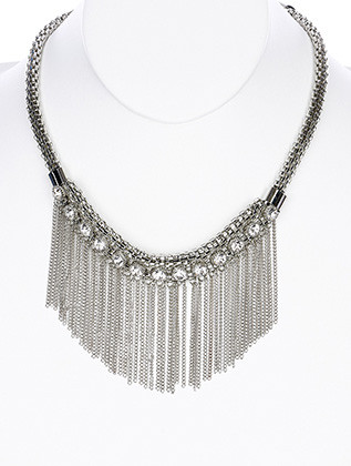 NECKLACE / CRYSTAL STONES / CHAIN FRINGE BIB / MESH / CHAIN / 16 INCH LONG / 2 1/2 INCH DROP / NICKEL AND LEAD COMPLIANT