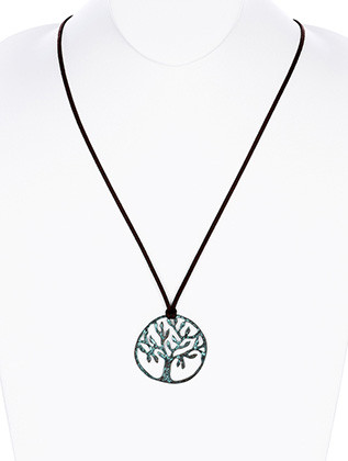 NECKLACE / AGED FINISH METAL / TREE OF LIFE PENDANT / CUTOUT / HAMMERED / FAUX SUEDE / 30 INCH LONG / 2 INCH DROP / NICKEL AND LEAD COMPLIANT
