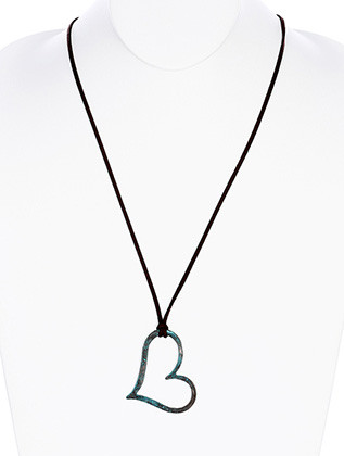 NECKLACE / AGED FINISH METAL / HEART PENDANT / CUTOUT / HAMMERED / FAUX SUEDE / 30 INCH LONG / 2 1/4 INCH DROP / NICKEL AND LEAD COMPLIANT
