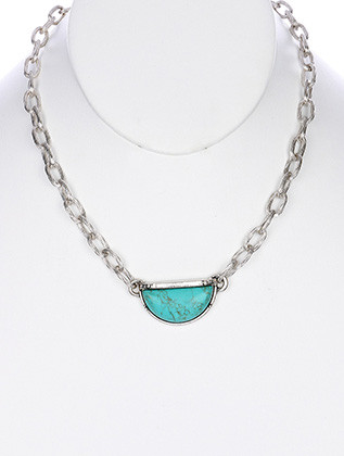 NECKLACE / NATURAL STONE FINISH / HALF MOON / AGED FINISH METAL / ETCHED LINK / CHAIN / 16 INCH LONG / 3/4 INCH DROP / NICKLE AND LEAD COMPLIANT