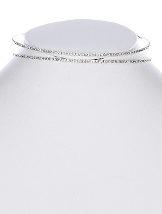 NECKLACE / PAVE CRYSTAL STONE / COIL COLLAR / 4 INCH DIAMETER / 3/4 INCH TALL / NICKEL AND LEAD COMPLIANT