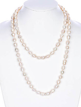 NECKLACE / FRESH WATER PEARL / EXTRA LONG / WRAPAROUND / 44 INCH LONG / 1/4 INCH DROP / NICKEL AND LEAD COMPLIANT