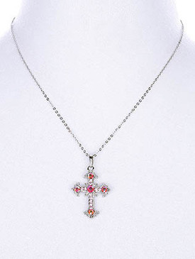 NECKLACE / ANTIQUE CROSS / PENDANT / HOMAICA STONE / TEXTURED / CUTOUT / 18 INCH LONG / 1 3/4 INCH DROP / NICKEL AND LEAD COMPLIANT
