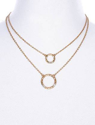 NECKLACE / HAMMERED METAL RING / DOUBLE LAYERED / TWO TONE / MATTE FINISH / WRAPAROUND WIRE / LINK / CHAIN / 16 INCH LONG / 2 INCH DROP / NICKEL AND LEAD COMPLIANT