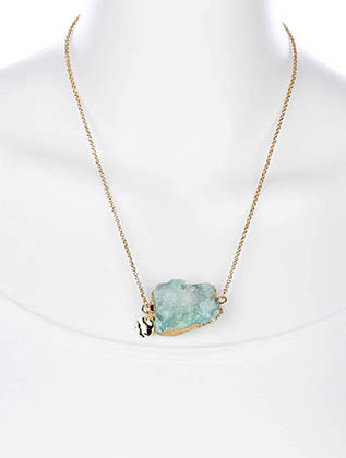 NECKLACE / NATURAL STONE / BIB / METAL COAT / LINK / CHAIN / STONE COLORS MAY VARY / 18 INCH LONG / 1 INCH DROP / NICKLE AND LEAD COMPLIANT