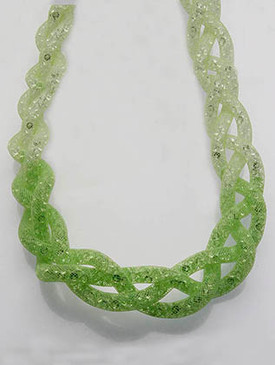 NECKLACE / BRAIDED MESH CORD / BIB / LUCITE BEAD / 16 INCH LONG / 1 INCH DROP / NICKEL AND LEAD COMPLIANT