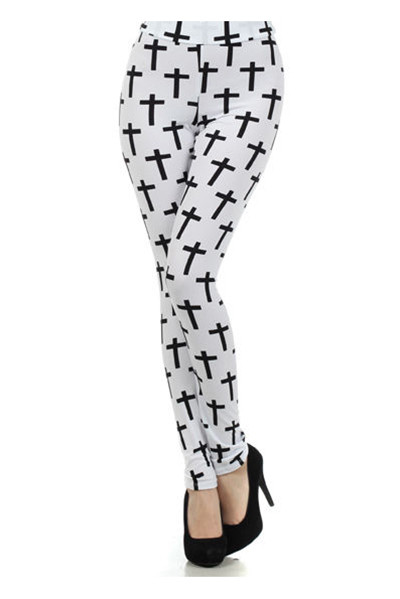 Cross Leggings - White