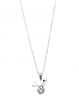 NECKLACE / CRYSTAL STONE / METAL DOPHIN PENDANT / LINK / CHAIN / 16 INCH LONG / 3/4 INCH DROP / NICKEL AND LEAD COMPLIANT