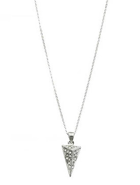 NECKLACE / PAVE CRYSTAL STONE / METAL ARROWHEAD PENDANT / LINK / CHAIN / 16 INCH LONG / 1 INCH DROP / NICKEL AND LEAD COMPLIANT