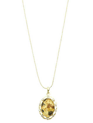 NECKLACE / VICTORIAN STYLE / METAL FRAME PENDANT / MARBLE FINISH / LUCITE / CRYSTAL STONE / LINK / CHAIN / 18 INCH LONG / 1 1/4 INCH DROP / NICKEL AND LEAD COMPLIANT