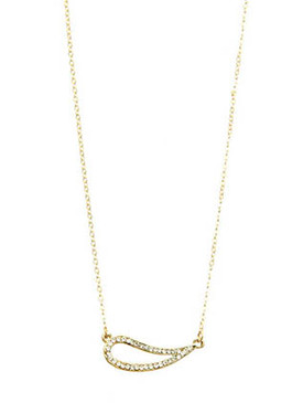 NECKLACE / PAVED CRYSTAL STONE / CUTOUT METAL PENDANT / LINK / CHAIN / 16 INCH LONG / 1/4 INCH DROP / NICKEL AND LEAD COMPLIANT