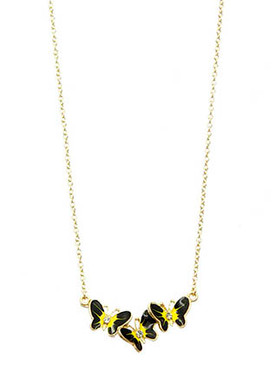 NECKLACE / METAL BUTTERFLY TRIO / CHARM / EPOXY / LINK / CHAIN / 16 INCH LONG / 1/2 INCH DROP / NICKEL AND LEAD COMPLIANT