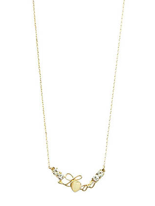NECKLACE / CRYSTAL STONE / METAL LOVE BIB / HOMAICA / LINK / CHAIN / 16 INCH LONG / 1/4 INCH DROP / NICKEL AND LEAD COMPLIANT